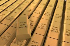 Gold. Ingots in rows, with text Fine  999.9, 3d render Stock Image