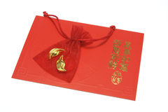 Gold Ingots in Sachet on Chinese Greeting Card Stock Images