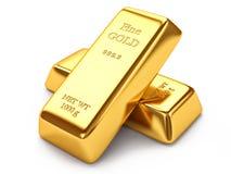 Gold ingots. On white background Royalty Free Stock Photos