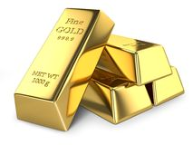 Gold ingots  Royalty Free Stock Photo