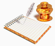 Gold inkwell and notebook Royalty Free Stock Photography