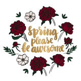 Gold inscription `Spring please be awesome` Stock Photos