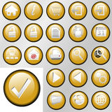 Gold Inset Control Button Icons. Set of shiny gold inset Control Button Icons for white or gray backgrounds stock illustration