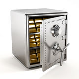 Gold inside steel safe. Gold ingots standing inside steel safe Royalty Free Stock Image