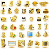 Gold interface icons 2. Huge collection of different interface icons in gold color Royalty Free Stock Photos