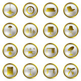 Gold Interior icons set Royalty Free Stock Image