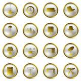 Gold Interior icons set Royalty Free Stock Image