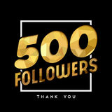 500 gold internet follower number thank you card. 500 followers thank you gold paper cut number illustration. Special user goal celebration for five hundred stock illustration