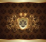Gold invitation frame or packing Stock Images