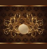 Gold invitation frame or packing Royalty Free Stock Images