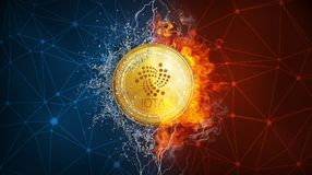 Gold IOTA coin hard fork in fire flame, lightning and water splashes. Golden IOTA coin in fire flame, water splashes and lightning. IOTA blockchain hard fork Stock Photography