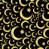 Gold islam star and crescent religion seamless pattern eps10 Stock Photo