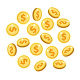 Gold isolated coins set in different positions stock photos