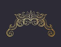 Golden Isolated headpiece floral decoration, dark background. Gold Isolated plant with leaves decorations. Italian flourish baroque ornate for wedding or Stock Photos