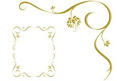 GOLD IVY IS FRAME, DESIGN LOVE. Ivy or frame, design and background Stock Photos
