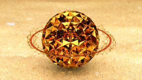 Gold Jewel, Planet With Ring, Plexus Conections, 3D Rendering.  Royalty Free Stock Photography