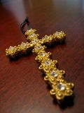 Gold jeweled cross. Or crucifix Stock Photography