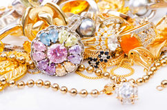 Gold jewellery. Large collection of gold jewellery Stock Image