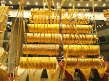 Gold jewellery shop over shops sell gold jewelry at the famous stock image