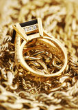 Gold Jewelry. Close up Royalty Free Stock Photo