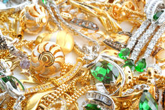 Gold jewelry background Royalty Free Stock Photos