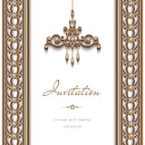 Gold jewelry background, invitation template Stock Photos