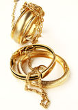 Gold jewelry, bracelets and chains Stock Photo