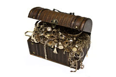 Gold jewelry chest royalty free stock images