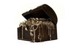 Gold jewelry chest Royalty Free Stock Image