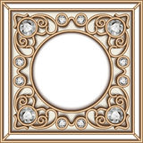 Gold jewelry circle frame Stock Image