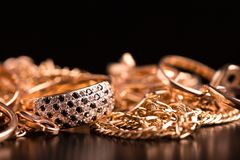 Gold jewelry closeup royalty free stock images