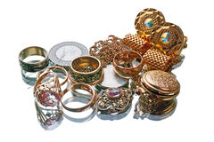 Gold jewelry and coins Royalty Free Stock Images