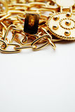 Gold jewelry with copy space Royalty Free Stock Images
