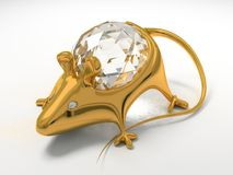 Gold jewelry decoration mouse Royalty Free Stock Images