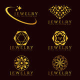 Gold Jewelry Diamond logo and flower logo vector set design Stock Image