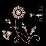 Gold jewelry flower decoration Royalty Free Stock Photo