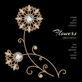 Gold jewelry flowers Stock Image