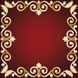 Gold jewelry frame Royalty Free Stock Photography