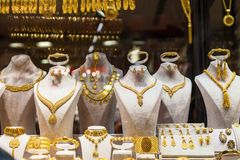 Gold Jewelry in Grand Bazaar stock photography