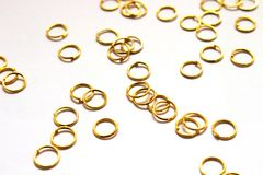 Gold Jewelry Jumring. Lay up of Gold Color Jumring Use For Jewelry on White Background Royalty Free Stock Photos