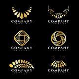 Gold jewelry and necklace logo vector set design Royalty Free Stock Photo
