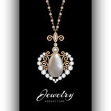 Gold jewelry pendant on black. Vintage gold jewelry pendant in shape of heart with diamonds and pearls on black royalty free illustration