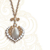 Gold jewelry pendant. Vintage gold jewelry pendant in shape of heart with diamonds and pearls royalty free illustration