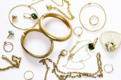 Gold jewelry - pendants, bracelets, rings Stock Photos