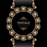 Gold jewelry round frame Royalty Free Stock Images