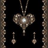 Gold jewelry set on black Royalty Free Stock Image