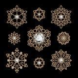 Gold jewelry set. Elegant gold jewelry, set of decorative elements isolated on black vector illustration