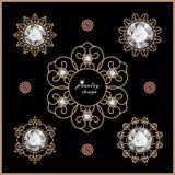 Gold jewelry set. Elegant gold jewelry, set of diamond vignettes on black Royalty Free Stock Photo