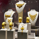 Gold jewelry shop window Royalty Free Stock Photo