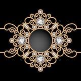Gold jewelry vignette on black Stock Image